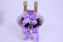 Корзина под две бутылки шампанского (большая) - белая с сиреневой лентой