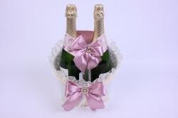 Корзина под две бутылки шампанского (большая) - шампань с розово-сиреневой лентой