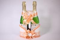 Корзина под шампанское - бело/персиковая (1)