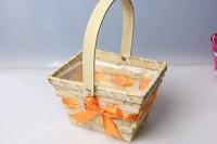 корзина прямоугольная из бамбука с подвесной ручкой (желтый/зелен/оранж/роз) 13y079