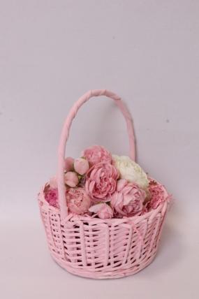 Корзины плетеная (ива) - Круг, розовый D22*11/27 см 6519Н