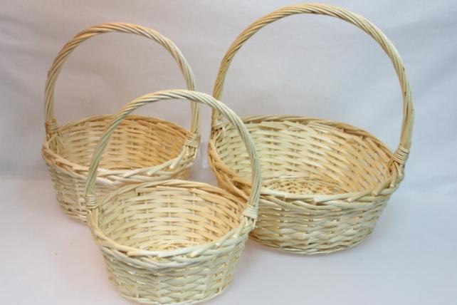 Корзины плетёные - 10-4027  Набор (3шт) корзин Круг белый (34х34, h=37см)