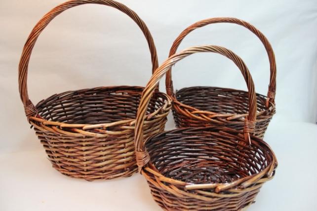 Корзины плетёные - 10-4027  Набор (3шт) корзин Круг коричневый (34х34, h=37см)