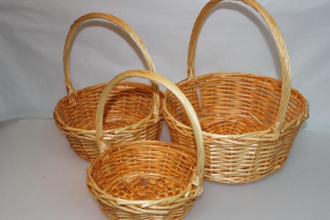 Корзины плетёные - 10-4027  Набор (3шт) корзин Круг медовый (34х34, h=37см)