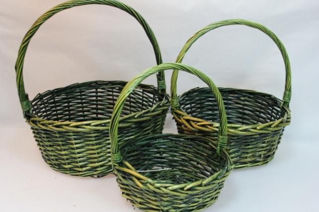 Корзины плетёные - 10-4027  Набор (3шт) корзин Круг зеленый (34х34, h=37см)