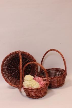 Корзины плетеные из ивы ( 3шт) - Круг, коричневый 33*33*13, 29*29*12, 23*23*10  2807Н