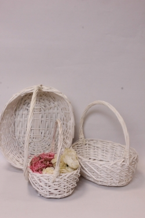 Корзины плетеные из ивы (3 шт) - Овал, белый 38*30*13, 33*25*12, 28*20*10  7325Н