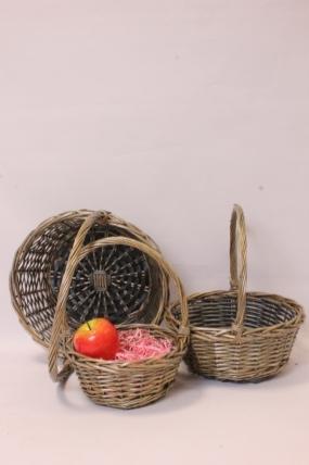 Корзины плетеные из ивы (3шт) - Круг, серый  33*33*13, 29*29*12, 23*23*10  2838Н