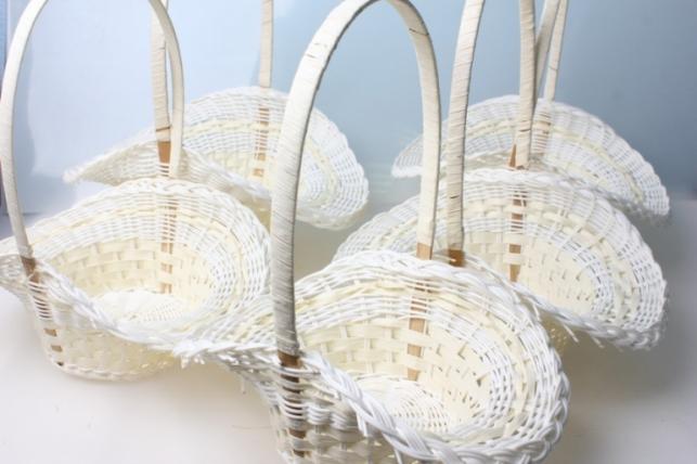 Корзины плетеные Набор (5шт.) Шляпа пластиковые белые  (d=33х23, h=13/35см)