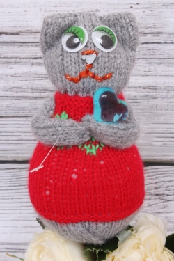Кошка Манечка красная (авторская работа)  25 см