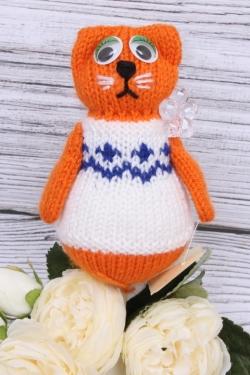 Кошка Манечка оранжевая (авторская работа)  25 см