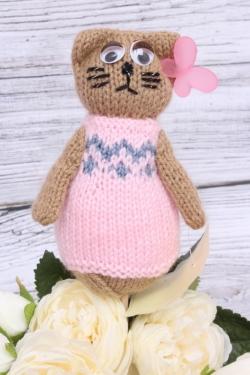 Кошка Манечка розовая (авторская работа)  25 см