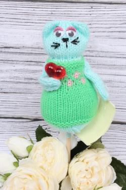 Кошка Манечка салатовая (авторская работа)  25 см