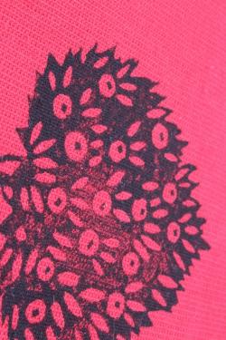 лён цвет красный с ручной набойкой 15*15 см микс