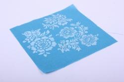 Лён голубой с ручной набойкой 15*15 см Стилизованные цветы