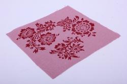 Лён розовый с ручной набойкой 15*15 см Стилизованные цветы