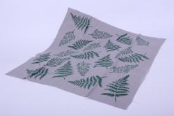 Лён серый с ручной набойкой 50*50 см Папоротник зелёный