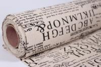 Лён в рулоне  (48см*5ярд) с рисунком Газета