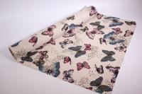 Лён в рулоне  (50см*5ярд) с рисунком -  Бабочки