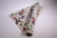 лён в рулоне  (50см*6ярд) с рисунком -  цветочный бутик