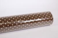 лён в рулоне  (50см*6ярд) с рисунком -  коричневый в горошек