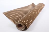 Лён в рулоне  (50см*5ярд) с рисунком -  Коричневый в горошек