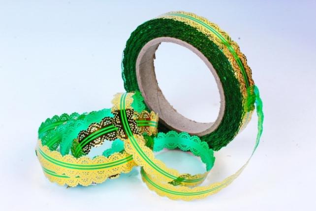 Лента ажурная 2х25у Зелёная с29