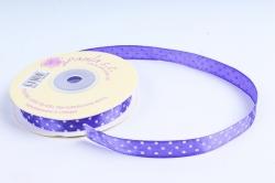 Лента атл. в горошек   1,2мм*25м Фиолетовая  KROPKA 121