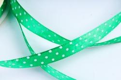 Лента атл. в горошек   1,2мм*25м Зелёная  KROPKA 019