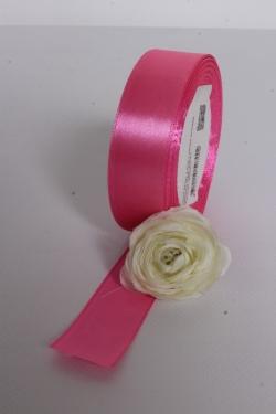 Лента атлас 2,5см х 25ярд розовая камелия (089) 7002Н