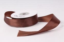 Лента атласная 2,5см*25ярд коричневый  (Н).  К