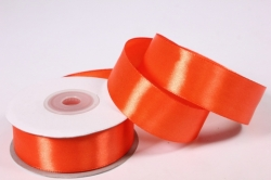 Лента атласная - 2,5см*25ярд морковный 25 (Н). К
