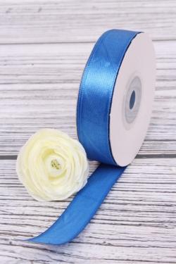 Лента атласная (кат. А), в катушке (картон) гладкая, односторон, 15 мм х 25 ярд, королев. синий 0957