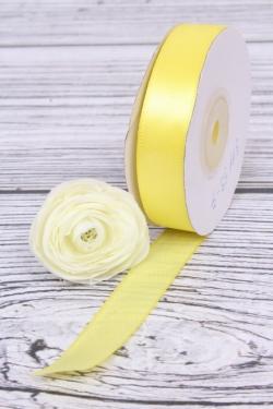 Лента атласная (кат. А), в катушке (картон) гладкая, односторонняя, 15 мм х 25 ярд, желтый 0834М