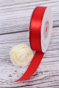 Лента атласная (кат. А), в катушке (картон) гладкая, односторонняя, 15 мм х 25 ярд, красный0513М