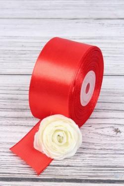 Лента атласная (кат. Б), на катушке (картон), односторонняя, 38 мм х 25 м, красный 7833М