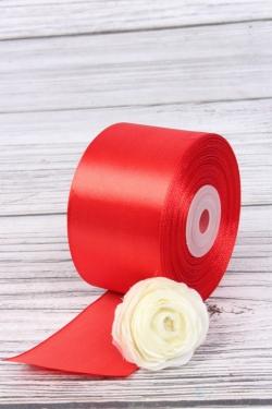 Лента атласная (кат. Б), на катушке (картон), односторонняя, 50 мм х 25 м, красный 8137М