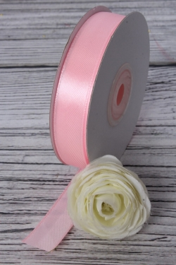 Лента атласная (кат. Б), на катушке (картон), односторонняя, 15 мм х 25 м, нежно-розовый 7345М