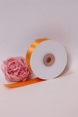 Лента атласная (кат. Б), на катушке (картон), односторонняя, 25 мм х 25 м, оранжевый 7765М