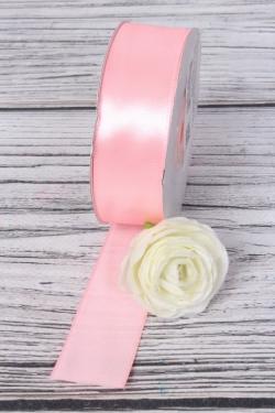 Лента атласная (кат. Б), на катушке (картон), односторонняя, 25 мм х 25 м, светло-розовый 7642М
