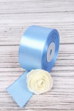 Лента атласная (кат. Б), на катушке (картон), односторонняя, 38 мм х 25 м, ярко-голубой 8380М