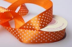 Лента атласная в горошек Оранжевая 25мм х 20м  024 П
