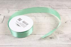 Лента атласная, в катушке (картон) гладкая, односторонняя, 25 мм х 25 м, светло-зеленый 1690 М