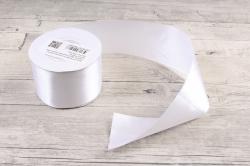 Лента атласная, в катушке (картон) гладкая, односторонняя, 50мм х 25м, Белый 5183 М