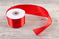 Лента атласная, в катушке (картон) гладкая, односторонняя, 50мм х 25м, Красный 5237 М