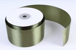 Лента атласная, в катушке (картон) гладкая, односторонняя, 50мм х 25м (оливковый 1086) М. К