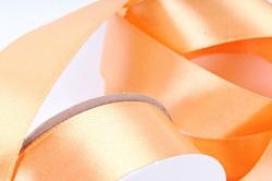 Лента атласная, в катушке (картон) гладкая, односторонняя, 25мм х 25м, Оранжевый (М), К