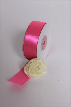 Лента атласная, в катушке (картон) гладкая, односторонняя, 25мм х 25м, Ярко-Розовый (М),К