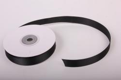 Лента атласная, в катушке (картон) гладкая, односторонняя, 15мм х 25м (черный 1132) К