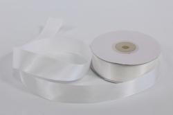 Лента атласная, в катушке (картон) гладкая, односторонняя, 25мм х 25м (белая 1001)